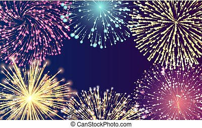 Festive Card with Fireworks on Blue Space Vector