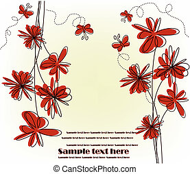 Festive card with red flowers
