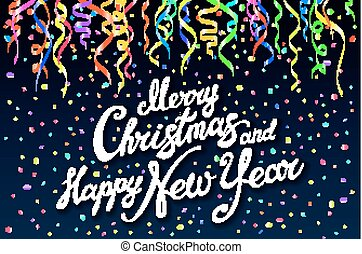 Festive card with sparkle calligraphic lettering Merry Christmas and Happy New Year on black background with decoration on colorfull confetti.. Vector illustration. Xmas card. Vector Illustration