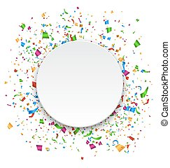 Festive Celebration Bright Confetti with Circle Frame Isolated on White