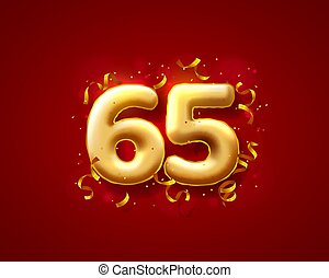 Festive ceremony balloons, 65th numbers balloons. Vector