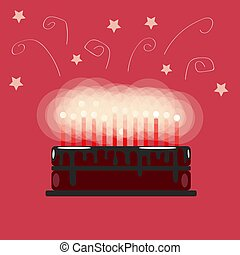 Festive chocolate birthday cake with candles. On a pink background. Flat