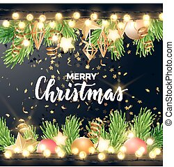 Festive Christmas and New Year vector design with fir tree branches, gold confetti, xmas ornaments, glowing stars and light garlands.