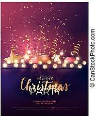 Festive Christmas and New Year vector party flyer or dinner invitation design with gold confetti, xmas ornaments, glowing stars and light garlands.