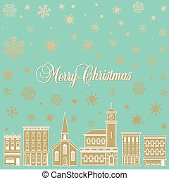 Christmas background with a town