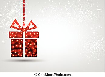 Christmas background with red gift.