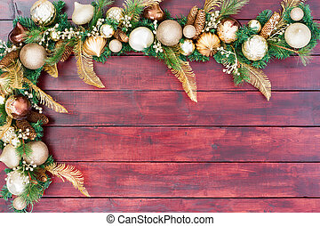 Festive Christmas border in gold, green and white
