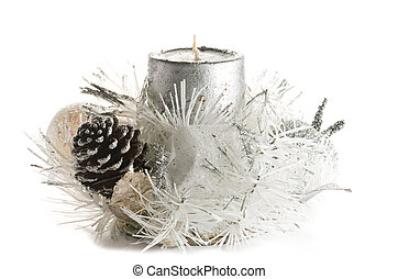 Festive Christmas Candle Ornament in tones of silver and white with pinecone, candle, baubles and tinsel.