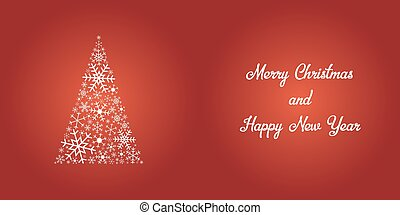 Festive christmas card - shiny white snowflake tree and text on red background