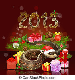 Festive Christmas card with a snake and gifts