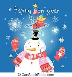 Festive Christmas card with a snowman and a dog