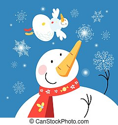 Christmas card with snowmen