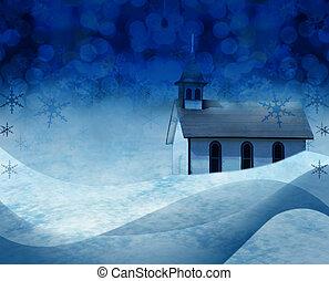 Christmas church snow scene