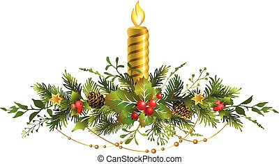 Festive Christmas fir garland with red berries and candle.