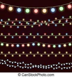 Festive christmas garland lights, fairy xmas vector decor