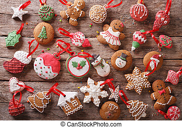 Festive Christmas gingerbread cookies close-up. orizontal top view
