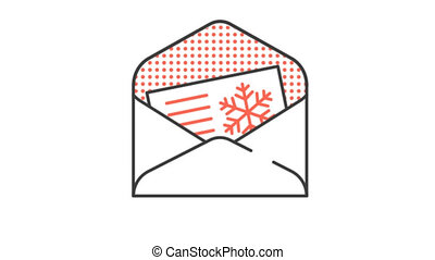 Festive Christmas greetings card in envelope. Animated looped icon pictogram with alpha channel.