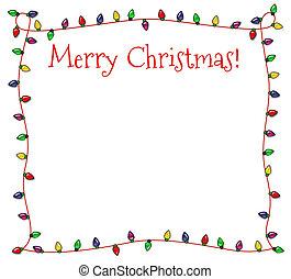Festive Christmas Lights Frame - Colorful Christmas frame of...