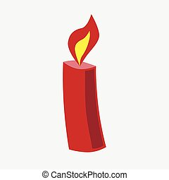 Festive Christmas red candle