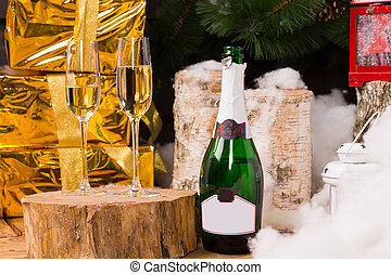 Christmas still life with two champagne flutes