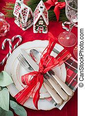 Festive christmas table setting
