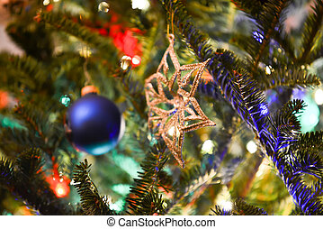 festive christmas tree with lights and decorations