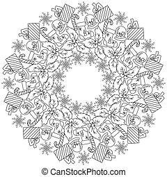 Festive Christmas zen mandala with winter attributes, gift with bow, holly and winter ball, circle doodles frame antistress coloring page