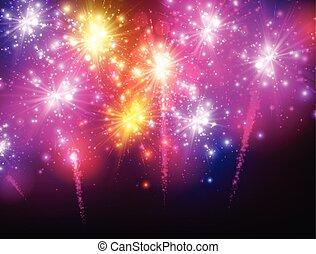 Festive color firework background.