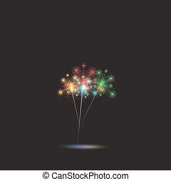 Festive color firework background. Vector illustration.