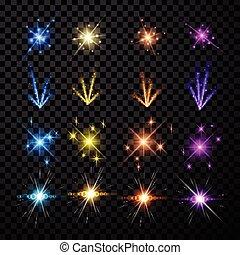 Festive color firework set. - Festive color firework set...