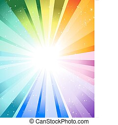 festive color rays - Festive rays with many stars. Vector ...