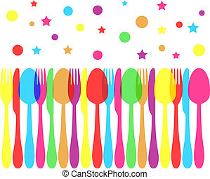 festive colored cutlery
