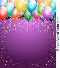 festive colorful balloons as top border with confetti background. space for text. vertical background