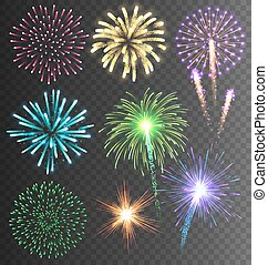 Festive Colorful Firework Salute Burst on Transparent...