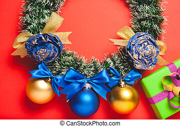 Festive composition on a red background. Template with place for text.