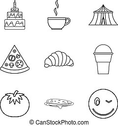 Festive cooking icons set, outline style