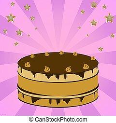 Festive cream cake with fireworks