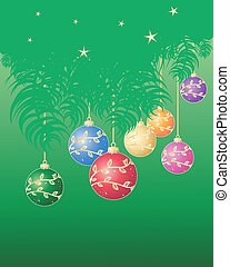 festive decoration - an illustration of green pine branches ...