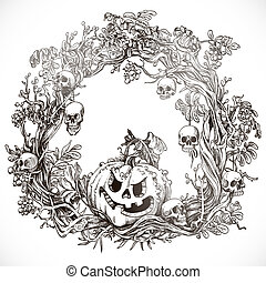 Festive decorative Halloween wreath graphic drawing