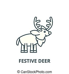 Festive deer vector line icon, linear concept, outline sign, symbol