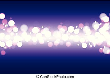 Festive defocused lights on a blue background. Abstract background with glow.