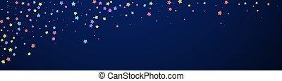 Festive delightful confetti. Celebration stars. Colorful stars random on dark blue background. Admirable festive overlay template. Panoramic vector background.