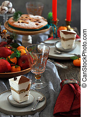 festive dessert table for new year and christmas