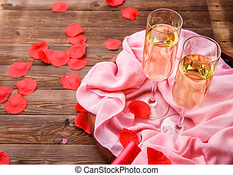 Festive dinner with rose petals