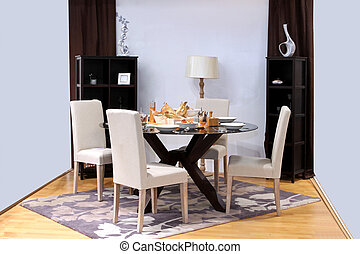 Festive dinning - Modern dinning room with oval table set up...
