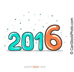 Festive doodle design of a card, banner. New year 2016