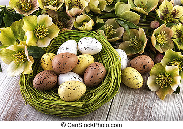 festive easter decoration in green-yellow colors