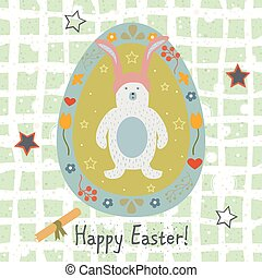 Festive Easter Egg with Cute Character of Bear. From Happy Easter Animal Collection. Creative Card.