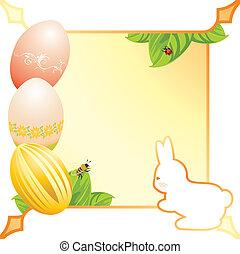 Festive Easter frame with eggs