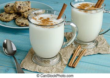 Festive Egg Nog with Cinnamon and Cookies - Glass mugs ...